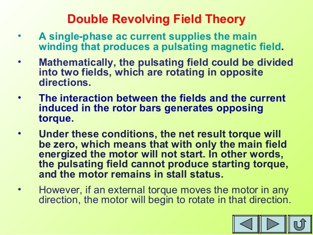 the cross field theory of single The single-phase induction motor operation can be described by two methods: –  double revolving field theory and – cross-field theory • double revolving.