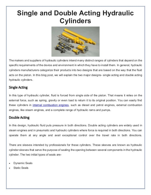 Single and double acting hydraulic cylinders