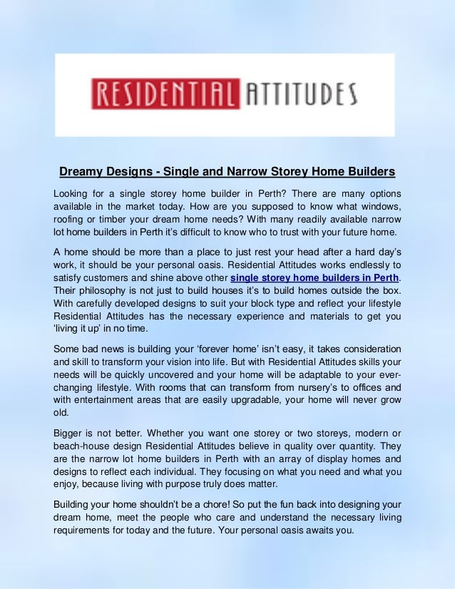 Single And Narrow Storey Home Builders