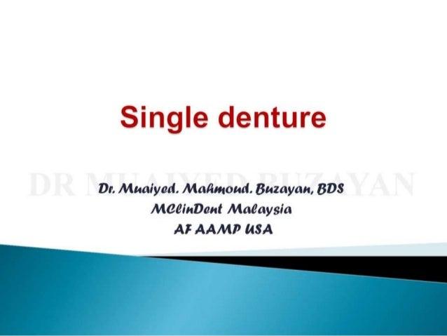 Single denture