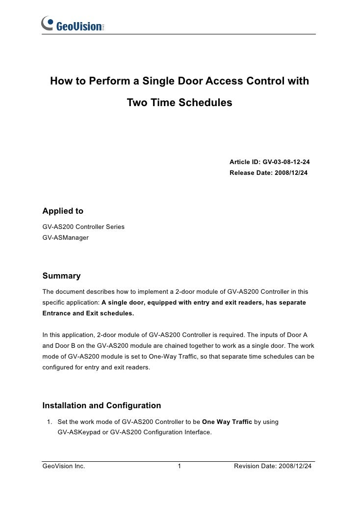 How to Perform a Single Door Access Control with                             Two Time Schedules                           ...