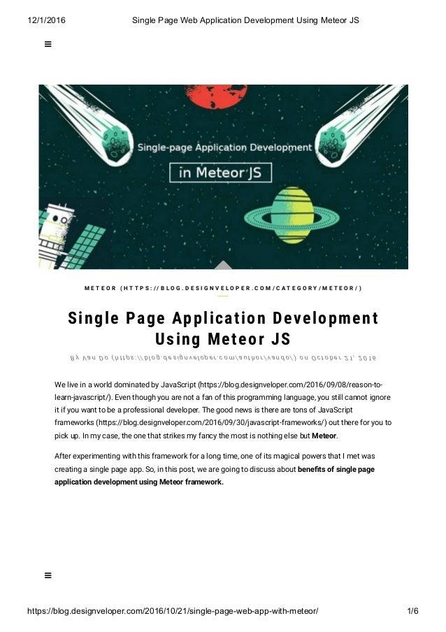 12/1/2016 SinglePageWebApplicationDevelopmentUsingMeteorJS https://blog.designveloper.com/2016/10/21/singlepagewe...