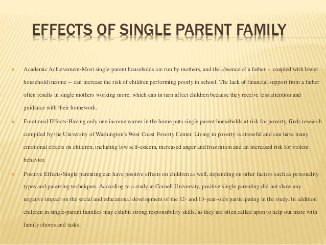 essays on the effects of single parent families