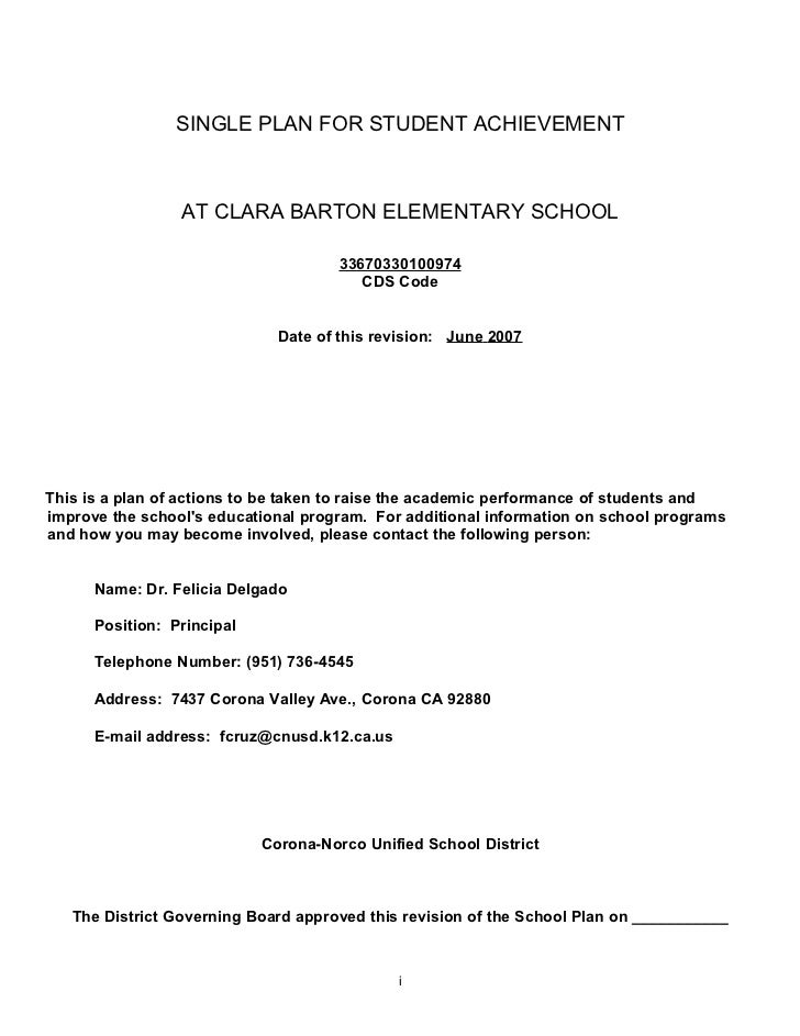 SINGLE PLAN FOR STUDENT ACHIEVEMENT                 AT CLARA BARTON ELEMENTARY SCHOOL                                     ...