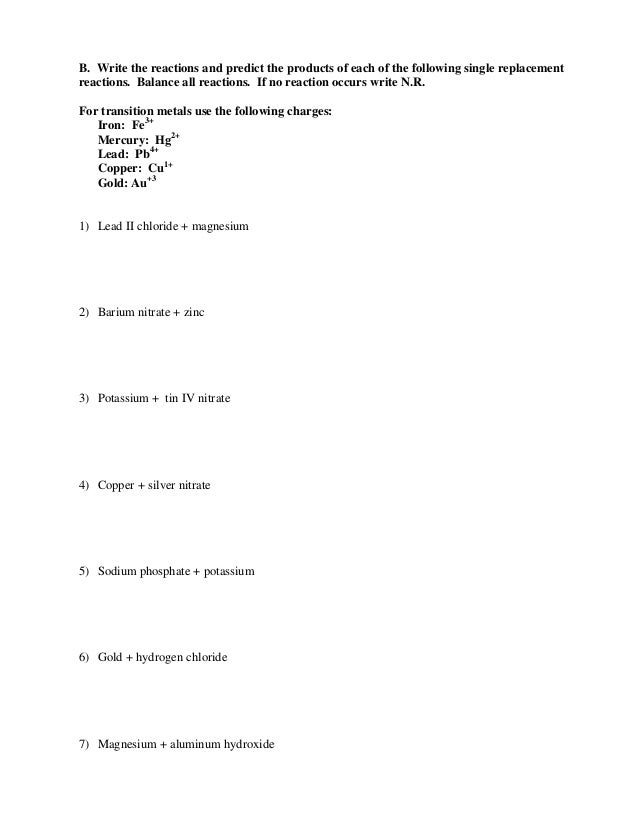 Printables. Single Replacement Reaction Worksheet. Ronleyba ...