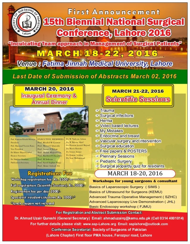 Last Date of Submission of Abstracts March 02, 2016Last Date of Submission of Abstracts March 02, 2016Last Date of Submiss...
