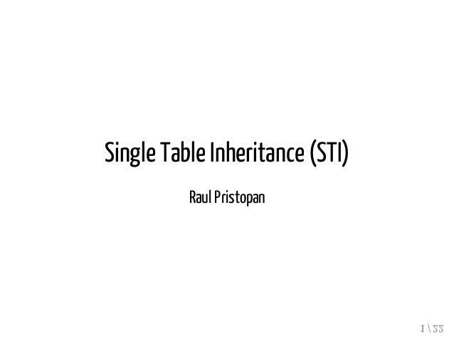 Single Table Inheritance (STI)  Raul Pristopan  1 / 22