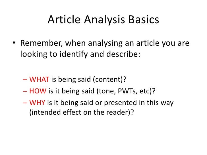 How to analyze an article