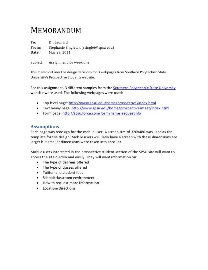 MEMORANDUMTo:        Dr.LeonardFrom:      StephanieSingleton(ssinglet@spsu.edu)Date:      May29,2011Subject:...