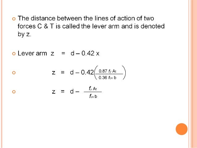 Lever Arm Depth : Singly reinforced beam