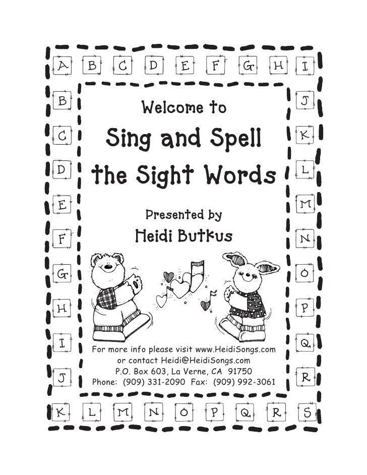 ab c d e f g hi                    j b      Welcome to  c Sing and Spell k d the Sight Words l                    m e     ...
