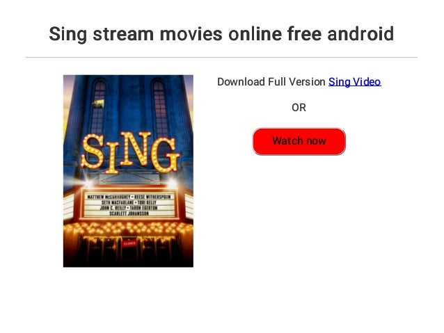 Sing Movie Stream