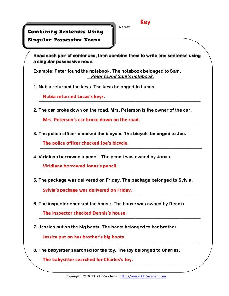 Pronouns Worksheets | Possessive Pronouns Worksheets