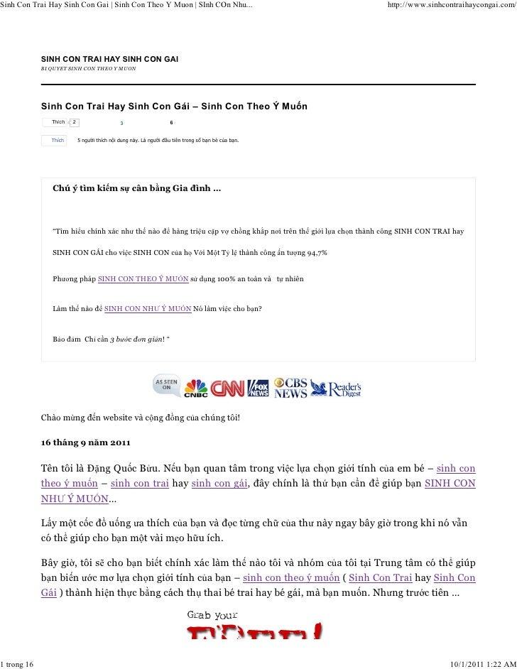 Sinh Con Trai Hay Sinh Con Gai | Sinh Con Theo Y Muon | SInh COn Nhu...                                      http://www.si...