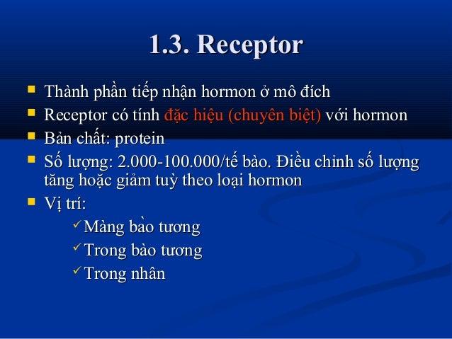 1.3. Receptor1.3. Receptor  Thành phần tiếp nhận hormon ở mô đíchThành phần tiếp nhận hormon ở mô đích  Receptor có tính...