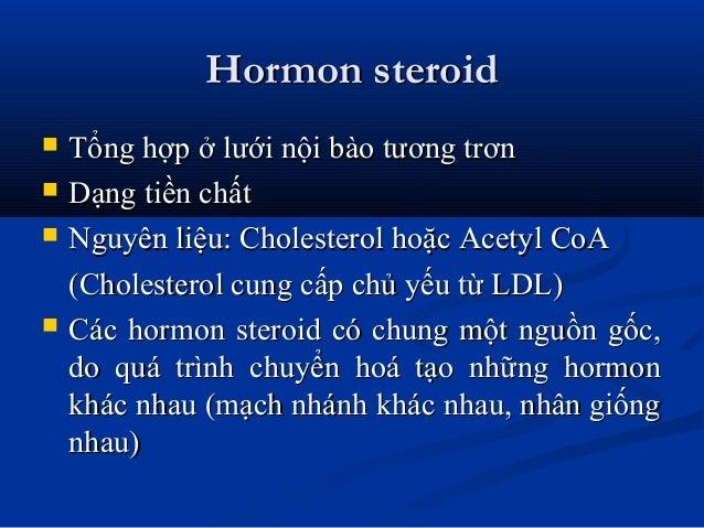 Hormon steroidHormon steroid  Tổng hợp ở lưới nội bào tương trơnTổng hợp ở lưới nội bào tương trơn  Dạng tiền chấtDạng t...