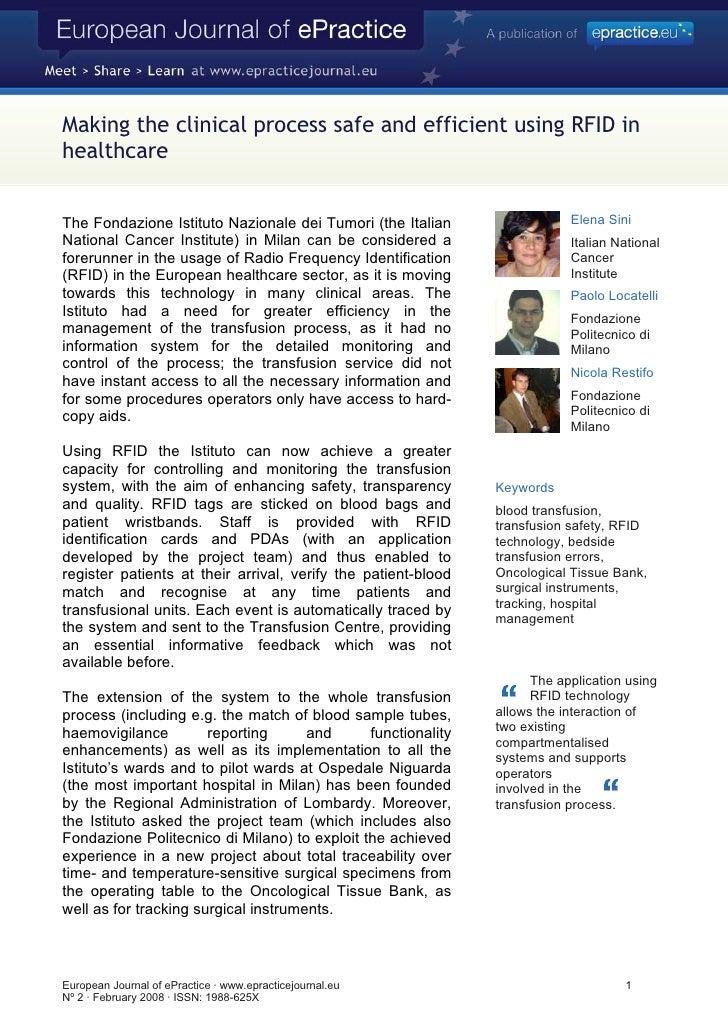 Making the clinical process safe and efficient using RFID in healthcare   The Fondazione Istituto Nazionale dei Tumori (th...