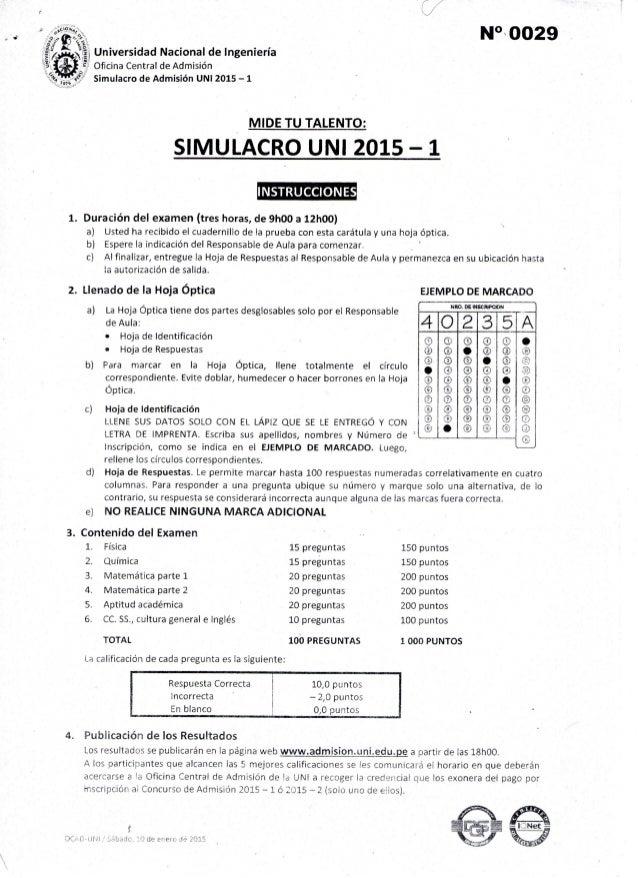 1.  2.  3.   M°- 0029        N_  -,  Universidad Nacional de Ingeniería   Oñcina Central de Admisión simulacro de Admisión...