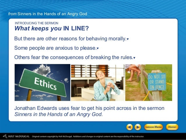List three specific techniques Edwards uses in this sermon to persuade his congregation.