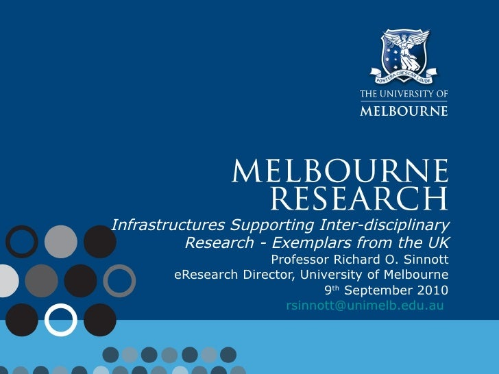 Infrastructures Supporting Inter-disciplinary Research - Exemplars from the UK Professor Richard O. Sinnott  eResearch Dir...