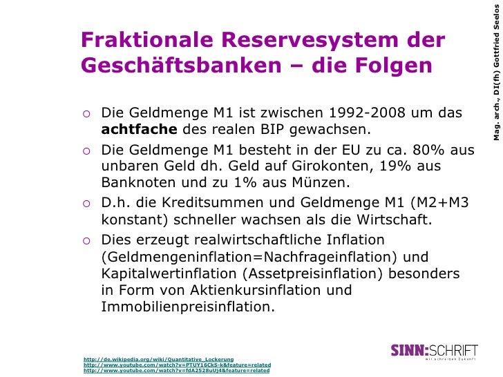 Mag. arch., DI(fh) Gottfried SeelosFraktionale Reservesystem derGeschäftsbanken – die Folgen¡   Die Geldmenge M1 ist zwi...