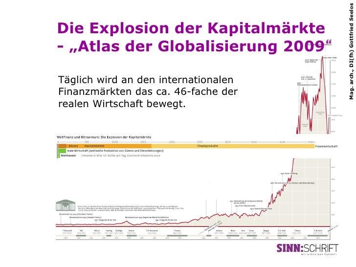 """Mag. arch., DI(fh) Gottfried SeelosDie Explosion der Kapitalmärkte- """"Atlas der Globalisierung 2009""""Täglich wird an den int..."""