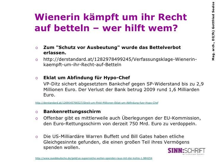 """Mag. arch., DI(fh) Gottfried SeelosWienerin kämpft um ihr Rechtauf betteln – wer hilft wem?¡   Zum """"Schutz vor Ausbeutun..."""