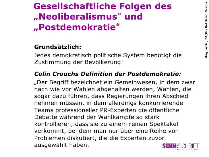 """Gesellschaftliche Folgen des                                                       Mag. arch., DI(fh) Gottfried Seelos""""Neo..."""