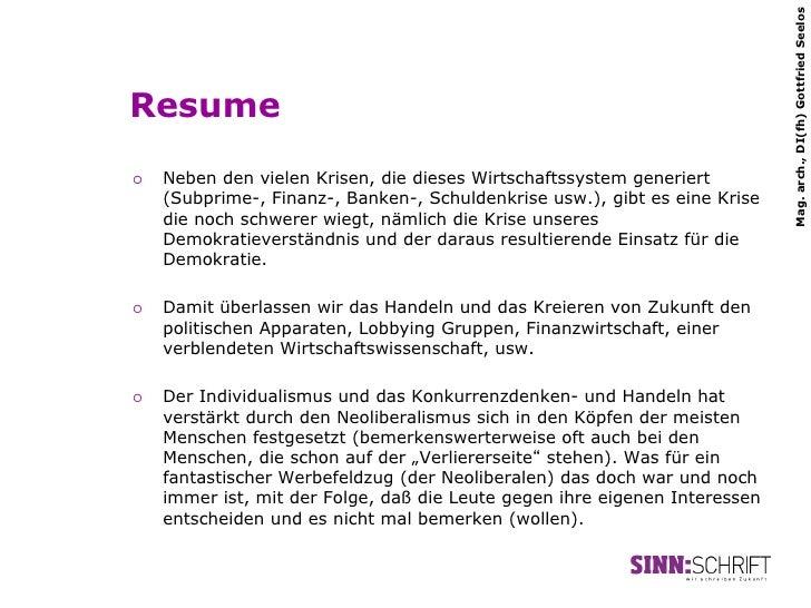 Mag. arch., DI(fh) Gottfried SeelosResume¡   Neben den vielen Krisen, die dieses Wirtschaftssystem generiert      (Subpr...