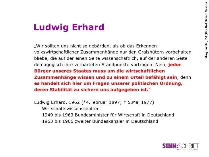 """Mag. arch., DI(fh) Gottfried SeelosLudwig Erhard""""Wir sollten uns nicht so gebärden, als ob das Erkennenvolkswirtschaftlich..."""