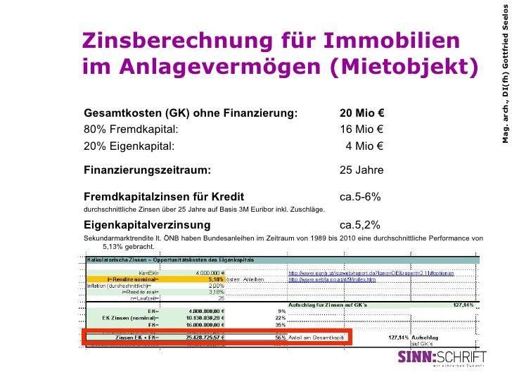 Mag. arch., DI(fh) Gottfried SeelosZinsberechnung für Immobilienim Anlagevermögen (Mietobjekt)Gesamtkosten (GK) ohne Finan...