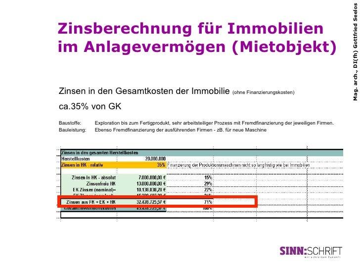 Mag. arch., DI(fh) Gottfried SeelosZinsberechnung für Immobilienim Anlagevermögen (Mietobjekt)Zinsen in den Gesamtkosten d...