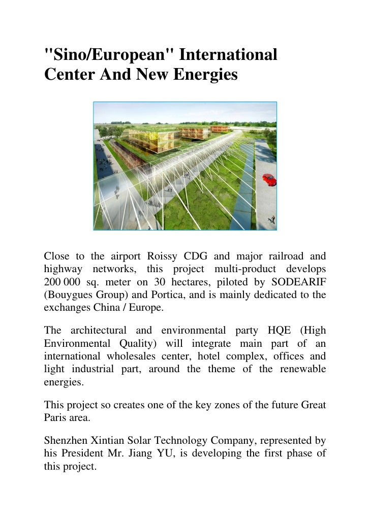"""""""Sino/European"""" International Center And New Energies     Close to the airport Roissy CDG and major railroad and highway n..."""