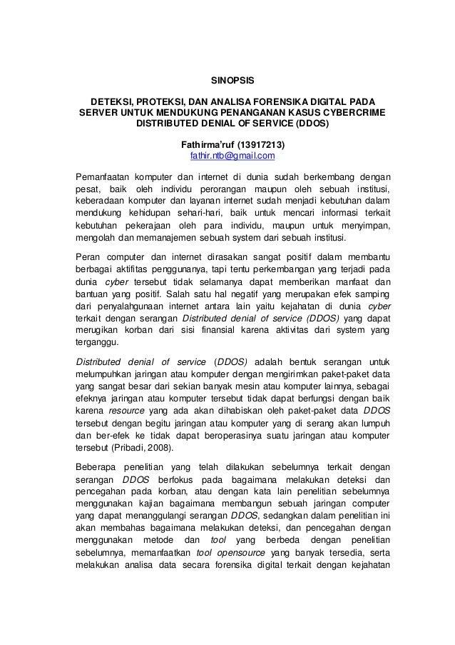 SINOPSIS DETEKSI, PROTEKSI, DAN ANALISA FORENSIKA DIGITAL PADA SERVER UNTUK MENDUKUNG PENANGANAN KASUS CYBERCRIME DISTRIBU...