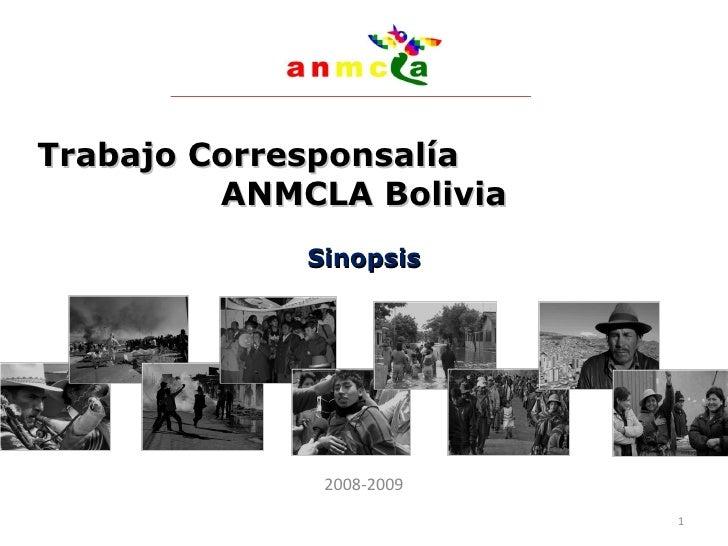 Trabajo Corresponsalía  ANMCLA Bolivia Sinopsis 2008-2009