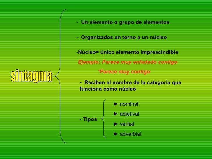 sintagma -  Un elemento o grupo de elementos -  Organizados   en torno a un núcleo -  Reciben el nombre de la categoría qu...