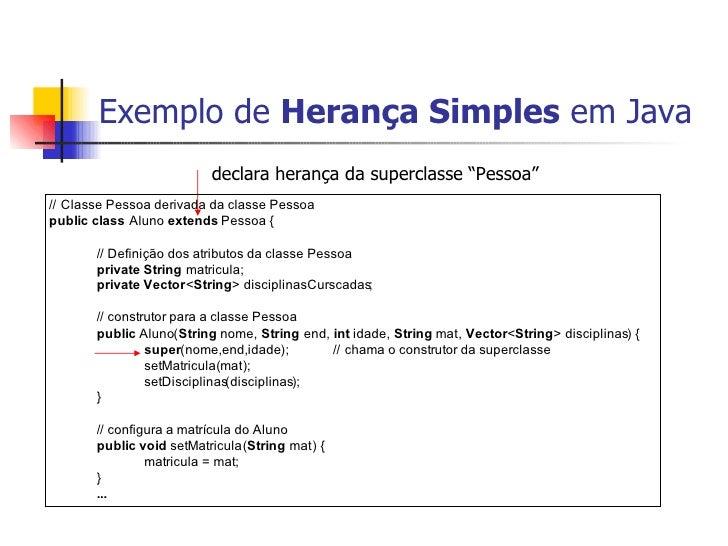 """Exemplo de  Herança Simples  em Java declara herança da superclasse """"Pessoa"""""""