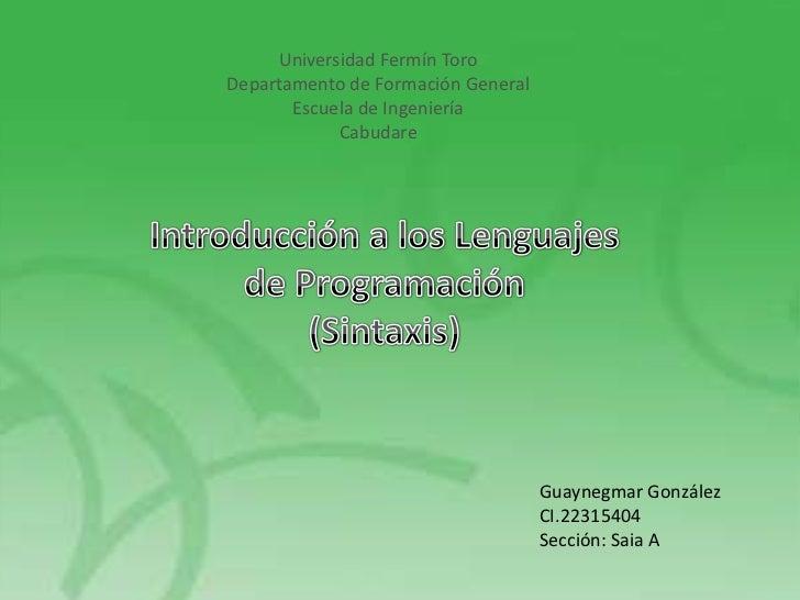 Universidad Fermín ToroDepartamento de Formación General       Escuela de Ingeniería            Cabudare                  ...