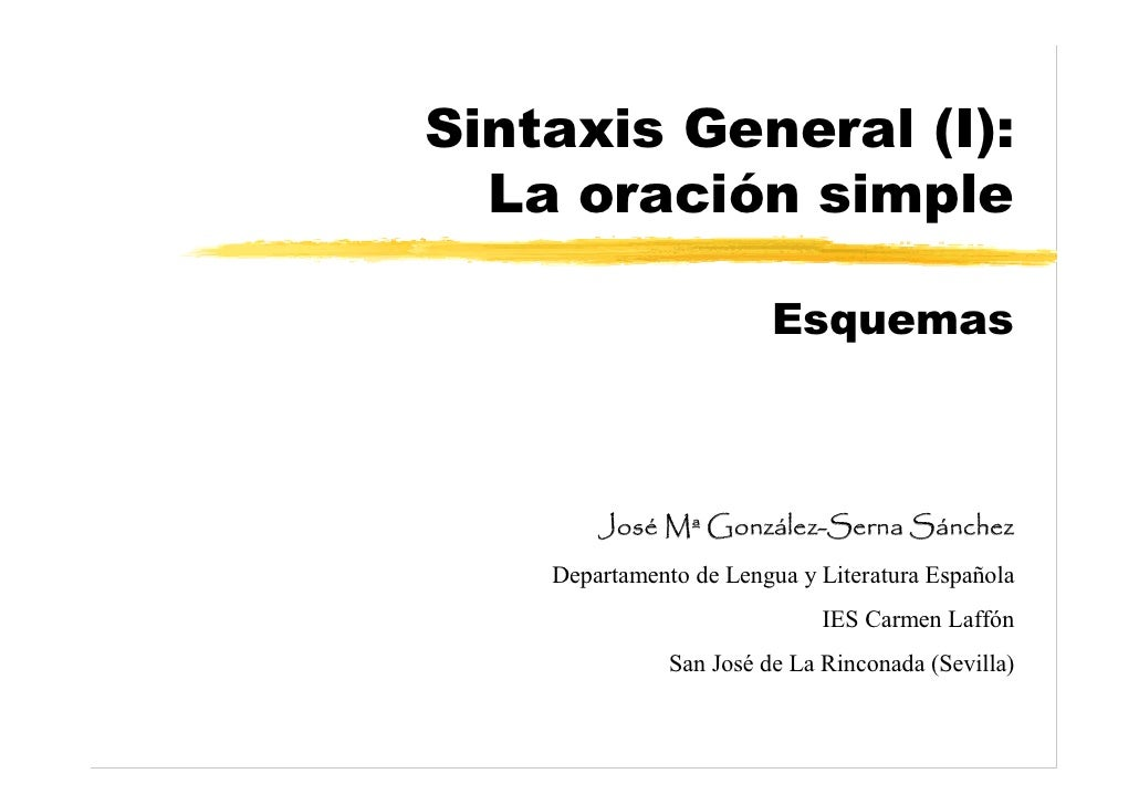 Sintaxis General (I):   La oración simple                           Esquemas            José Mª González-Serna Sánchez    ...