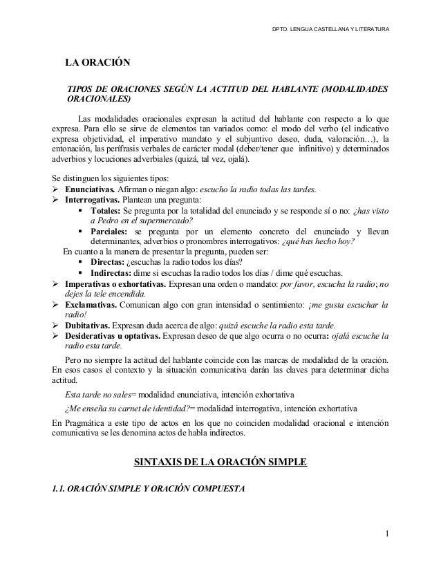 DPTO. LENGUA CASTELLANA Y LITERATURA  LA ORACIÓN TIPOS DE ORACIONES SEGÚN LA ACTITUD DEL HABLANTE (MODALIDADES ORACIONALES...