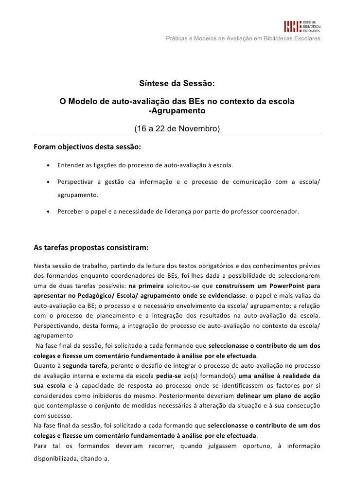 Sintese3 O Modelo De Auto Avaliacao Das B Es No Contexto Da Escola  Agrupamento  Drealg Turma 2