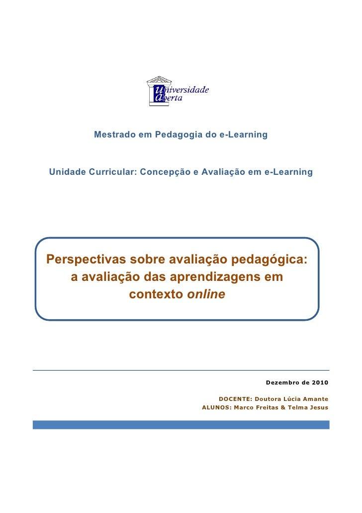 Avaliação das aprendizagens em contexto online