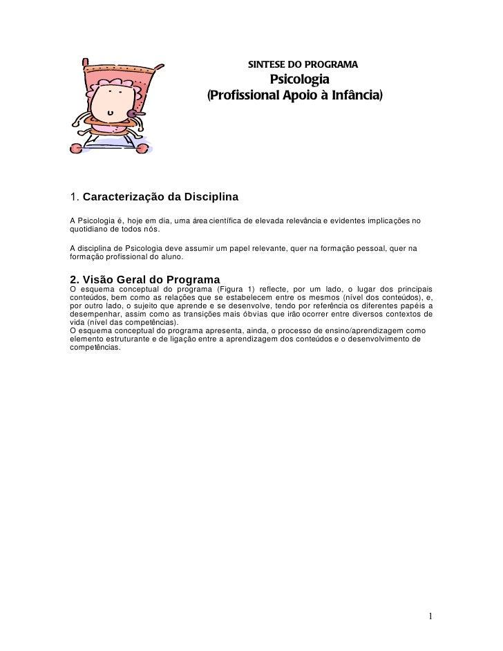 SINTESE DO PROGRAMA                                                Psicologia                                     (Profiss...