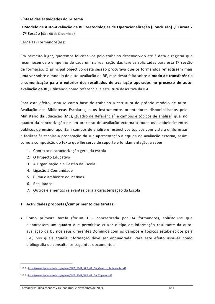 Síntesedasactividadesdo6ºtema OModelodeAuto‐AvaliaçãodaBE:MetodologiasdeOperacionalização(Conclusão).).Tu...