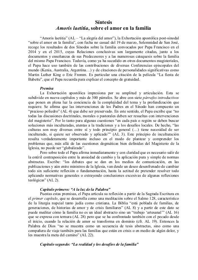 """Síntesis Amoris laetitia, sobre el amor en la familia """"Amoris laetitia"""" (AL – """"La alegría del amor""""), la Exhortación apost..."""