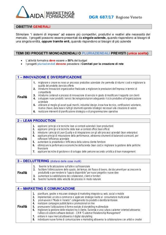 """DGR 687/17 Regione Veneto OBIETTIVI GENERALI Stimolare """"i sistemi di imprese"""" ad essere più competitivi, produttivi e reat..."""
