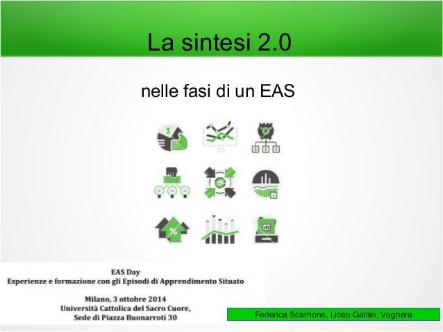 La sintesi 2.0  nelle fasi di un EAS  Federica Scarrione, Liceo Galilei, Voghera