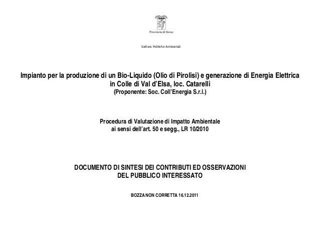 Settore Politiche Ambientali Impianto per la produzione di un Bio-Liquido (Olio di Pirolisi) e generazione di Energia Elet...