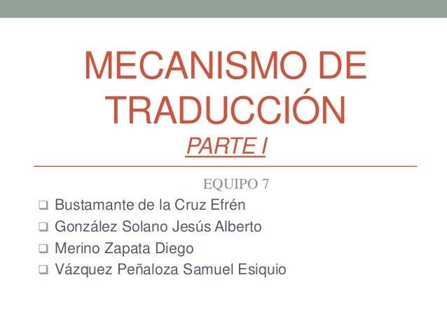 MECANISMO DE TRADUCCIÓN PARTE I EQUIPO 7  Bustamante de la Cruz Efrén  González Solano Jesús Alberto  Merino Zapata Die...