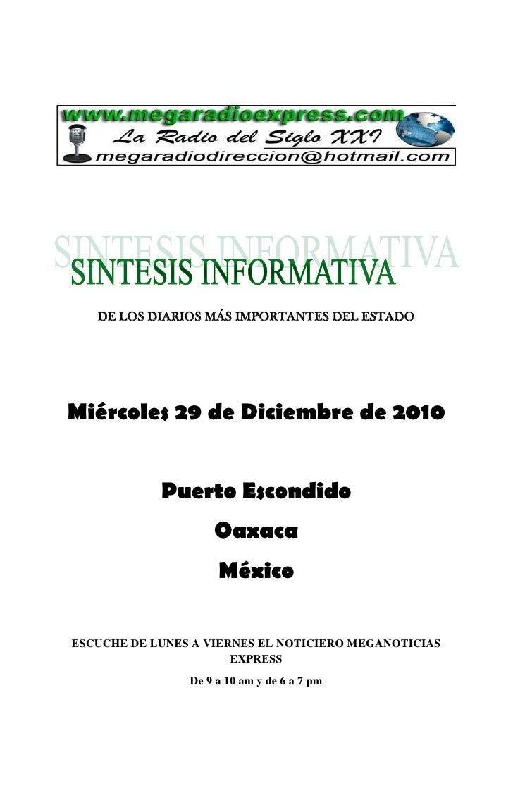 DE LOS DIARIOS MÁS IMPORTANTES DEL ESTADOMiércoles 29 de Diciembre de 2010            Puerto Escondido                    ...